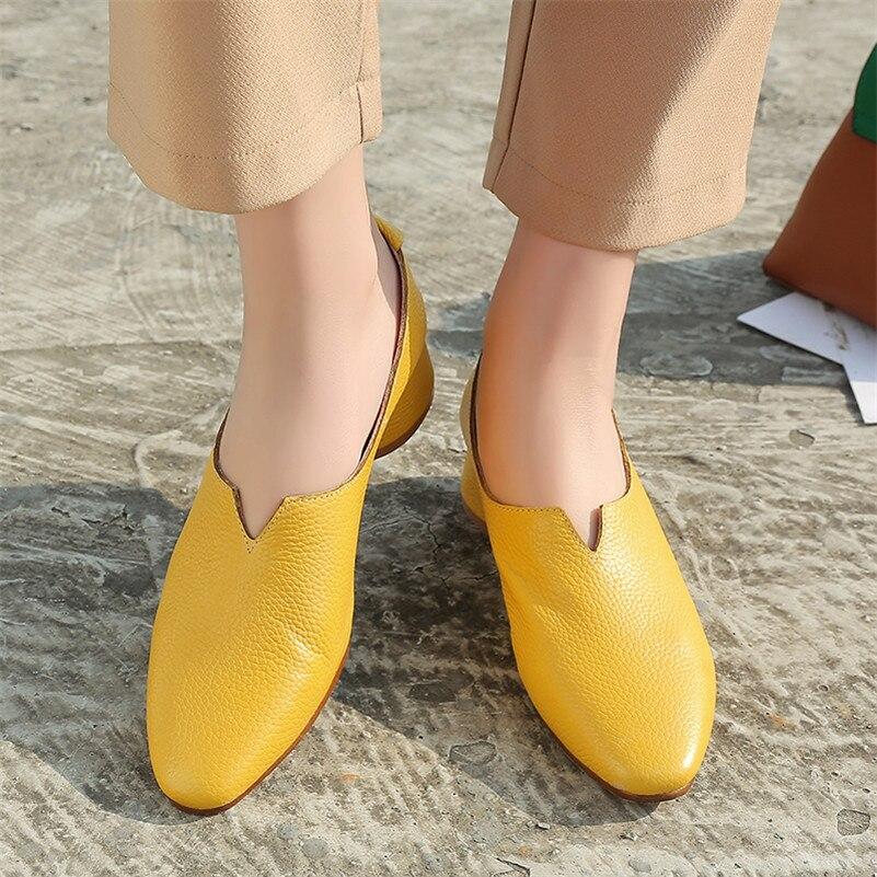 rotonda 1 punta in pumps alti Fedonas giallo basic donna pelle marrone pompe genuino Shallow 1new marca arrivo scarpe donna tacchi primavera autunno design 6ZwRgZ8q