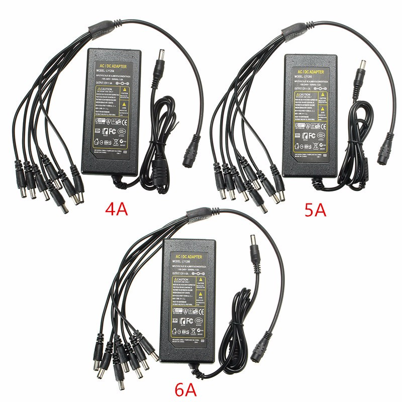 Power Supply Adapter DC12V 4A 5A 6A With 8 Split Cable For CCTV Security Surveillance CCTV