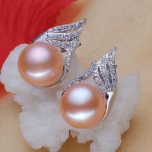 Women Gift word 925 Sterling silver real [bright pearl] natural freshwater 10mm-11mm pearl earrings, black pearl earrings, brigh 10mm natural tahitian black pearl silver stud drop earrings