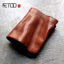 Aetoo оригинальный ретро кожаный кошелек женский короткий узор кожевенный завод мужской кошелек простой ручной складки головы слой кожи мягкая кошельки