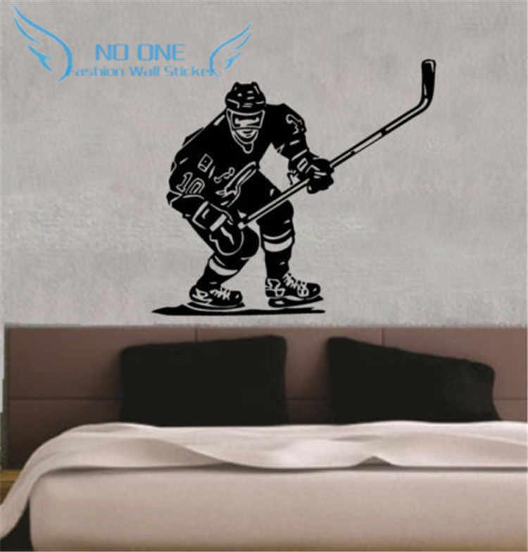 هوكي الجليد لاعب NHL الرياضة بوي غرفة جدارية ديكور جدار الفن الفينيل ملصق لاصق لامع ورائع شحن مجاني