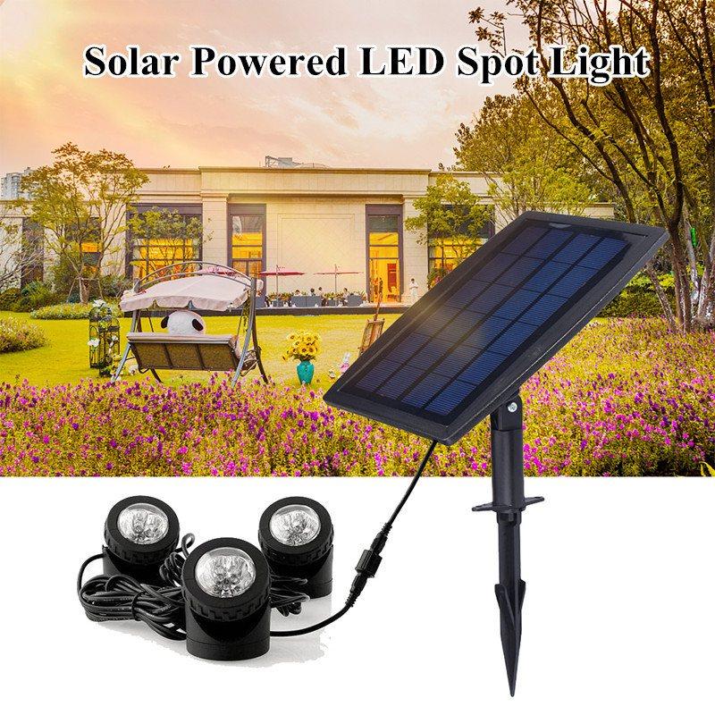 Mising 18 LED Solar Powered 3 Lamps Landscape Spotlight Projection Light for Garden Pool Pond Outdoor Lighting Underwater Lights solar pool algae bacterial viruses killer