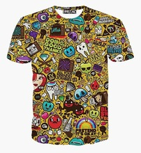 2015 Cartoon tshirt men/boy 3d t shirt harajuku style funny print small caricatura images graphic summer tops tees
