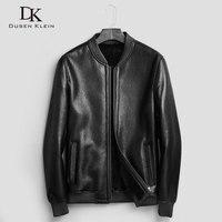 D'origine éco cisaillement en cuir veste hommes court Designer l'ai col moto veste laine doublure Marque manteaux d'hiver 71E88B