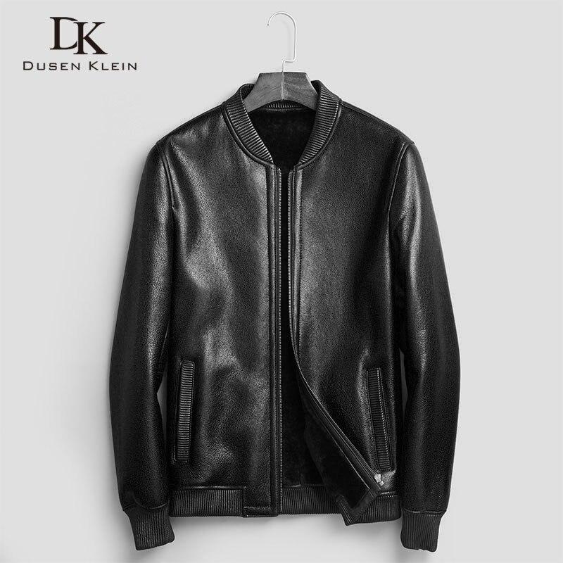 Original eco cuir veste hommes court Designer cew col moto veste laine doublure marque hiver manteaux 71E88B