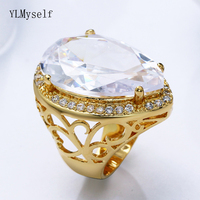 Limited quantity sale big stone ring jewelry making large water drop crystal trendy jewellery gold rings for women
