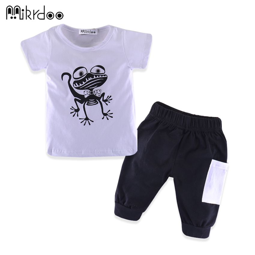 HOT SALE summer baby boy clothes cartoon forg short pants cotton shirt casual clothing baby clothes Set short-sleeved