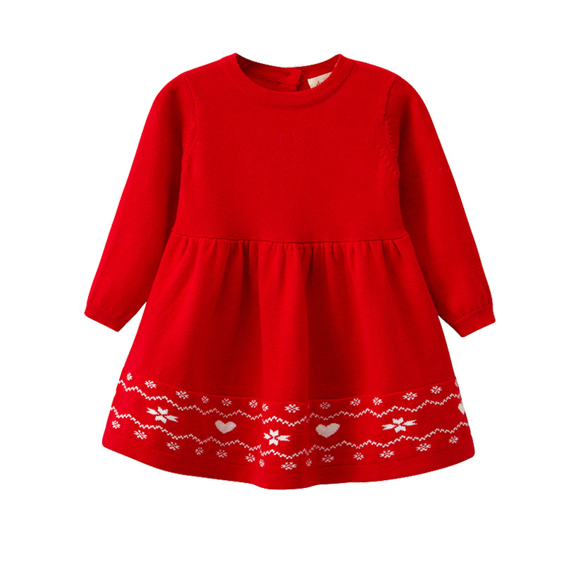 Red Little Girls Sweaters Dress Winter Warm Toddler Kids Long Dresses Autumn Long Sleeves Baby Knitwear Tops Children's Clothing burgundy lace up design one shoulder long sleeves sweaters