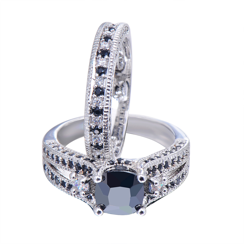 Junxin Men S Gorgeous Black Crystal Ring Set Promise Engagement Rings For Women Fashion 10kt White Gold Filled Jewelry Rw1222 In From