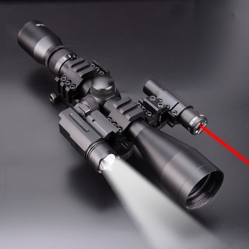 4 in 1 NEW 3-9x40 Hunting Scope Optics+QD 3 Side Rail Mounts+ 800 LUMS Tactical Flashlight + Tactical Red Dot Laser Sights 3 9x40 tactical hunting 3 in 1 combo rifle scope with red laser