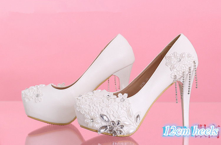 Handmade ivory pearl wedding shoes low-heeled and high heels shoes white  dress bridal shoes maternity wedding shoes ppumps womenUSD 53.00 pair f50ca9206695