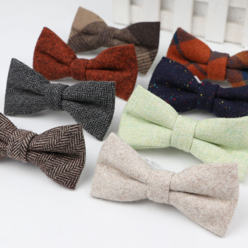 Bowtie Solid-Color-Ties Wool Classical Butterfly Plaid Baby Kids Children Pet-Striped
