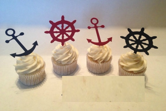 nautical themed silhouette cupcake toppers sports food picks bridal shower bachelorette party wedding birthday toothpicks decor