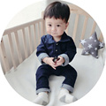 New Born Baby Boy Clothes Cotton Jeans Cotton Dark Blue Turn-down Collar Baby Clothes Long Sleeve Letter Baby Boy Romper