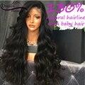 Объемная волна glueless парик фронта шнурка виргинский бразильский девственные волосы полный кружева парики человеческих волос для черных женщин 130% полный парик шнурка