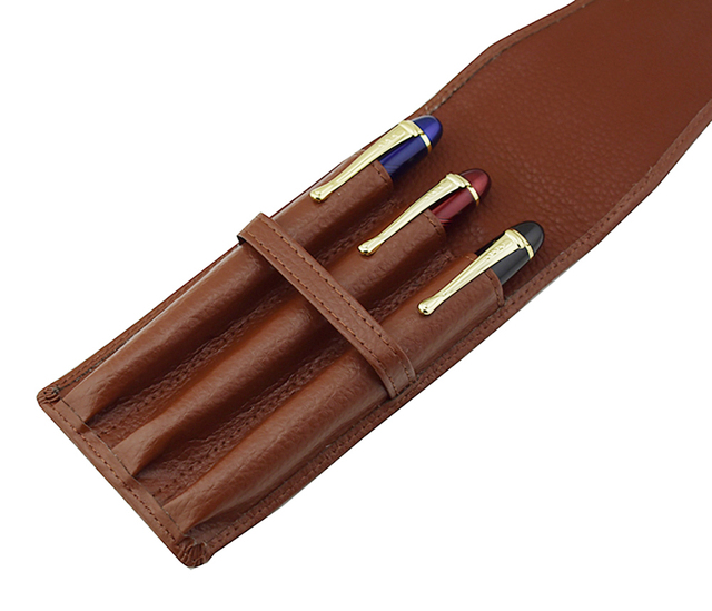 Leather Pencil Case Washed Cowhide Pen Case / Bag for 3 Pens , Coffee Pen Holder / Pouch High Quality for Men & Women