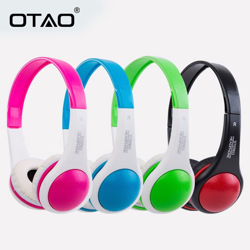 OTAO Children Headphone With MIC Wired 3.5mm Plug Child Headset Stereo Sports Headband Earphones For AUX Mobile Phone PC MP4