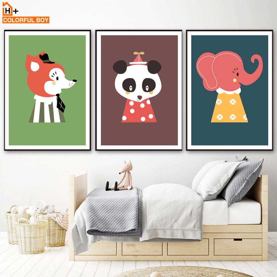 Fox Panda Elephant Wall Art Canvas Painting Nordic Posters And Prints Cartoon Animals Pop Art Wall Pictures Baby Kids Room Decor in Painting Calligraphy from Home Garden
