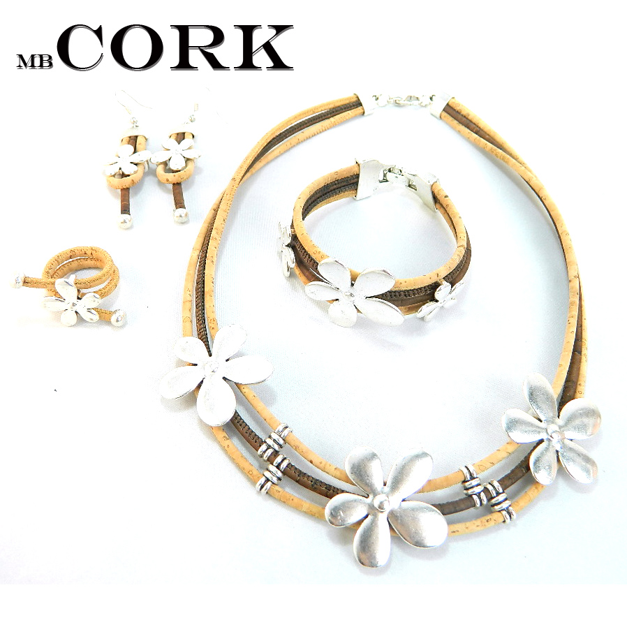 natural cork, Ring +bracelet+ earrings + necklace original jewerly Environment-friendly materials SET-694 solar shaking little duck environment friendly ornamentation