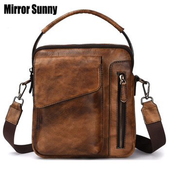 New Genuine Leather Shoulder Bag Brand Top Layer Cowhide Men CrossBody Bag Small Casual Flap Zipper Design Male Messenger Bags