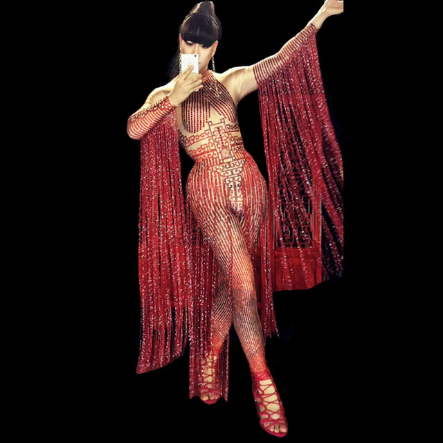 Red Tassels Sleeve Crystals Jumpsuit Bar Women Dance Costume Nightclub Leading Dancer Stage Performance Costume Show Stage Wears