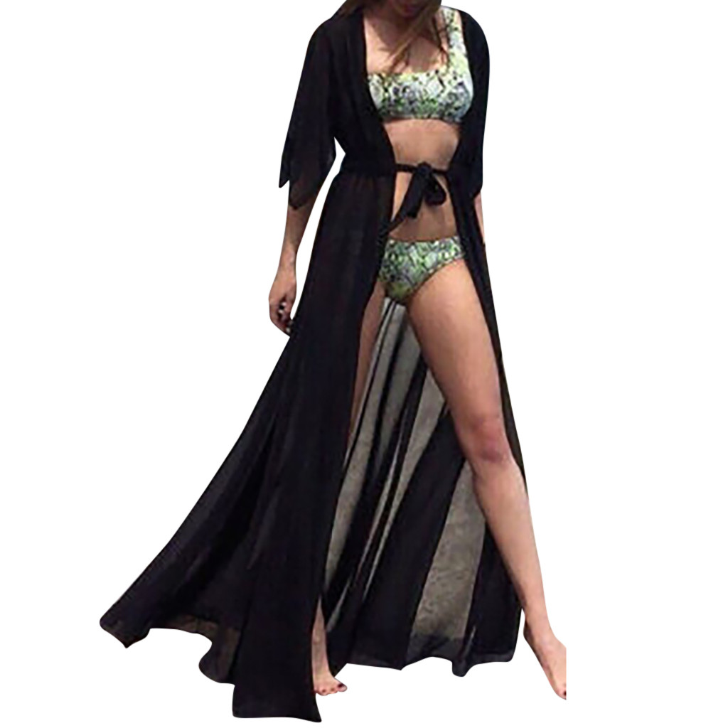 2019 Summer Solid Chiffon Bikini Cover Up Cardigan Lace Up Perspective Beach Dress Kaftan Beach Pareos Swimsusit Beachwear Capes