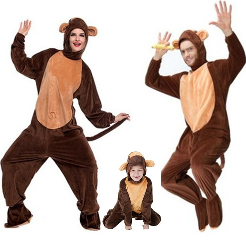 Family Lovers Monkey Cosplays Halloween Animal Costumes Kigurumi Winter Adult Children Kids pajamas Masquerade stage show dress