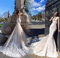 Por Encargo Atractivo de La Sirena Vestidos de Novia con el Tren Desmontable Único Nuevo Diseño Vintage Vestidos de Boda vestido de noiva