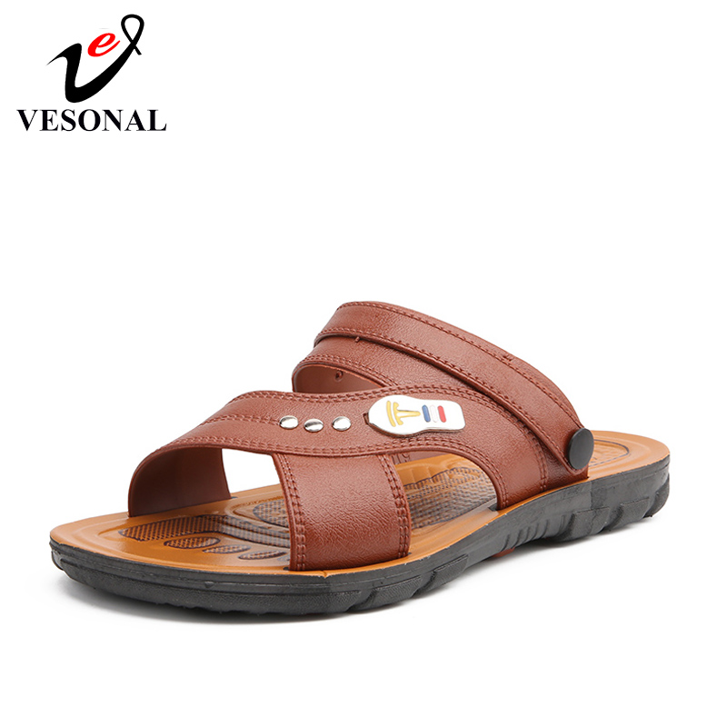 VESONAL 2019 Summer New Leather Comfortable Shoes Men Sandals For Male Casual Vintage Classic Beach Sandalias Sandal 1802(China)