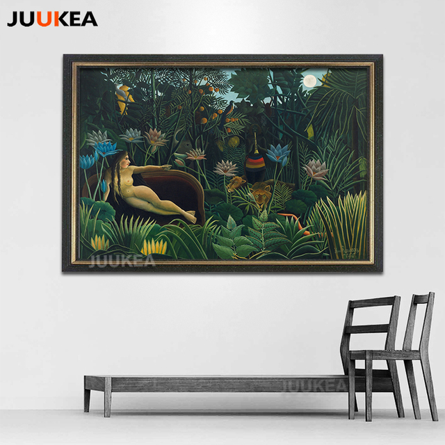 Dream by Surrealist Artist Henri Rousseau Canvas Print Painting Naked Woman Tropical Rain Forests Natural Animal Home Decor Art