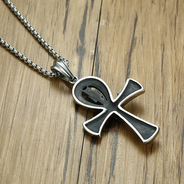 Egyptian Scarab Ankh Stainless Steel Pendant with Necklace