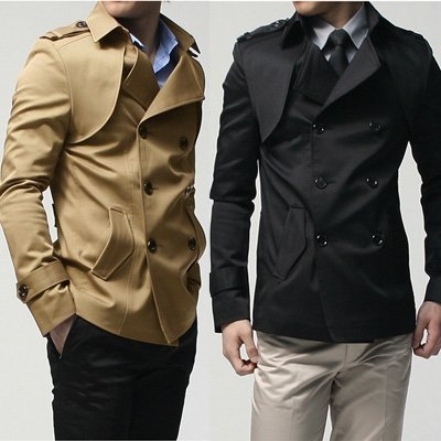 free shipping-New Men's Windbreak Black Wind Coat For Men Autumn New Arrivals/ wind breaker/double-breasted suit