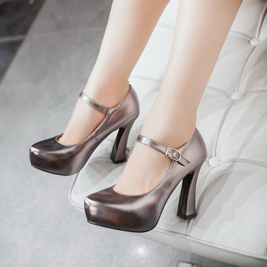 US $42.43 36% OFF Closed Metal High Heels Super 11 43 Thick Extreme Pumps Prom 10 42 Gold Shoes Women With Platform Ankle Strap Ultra Size 4 34 33 in