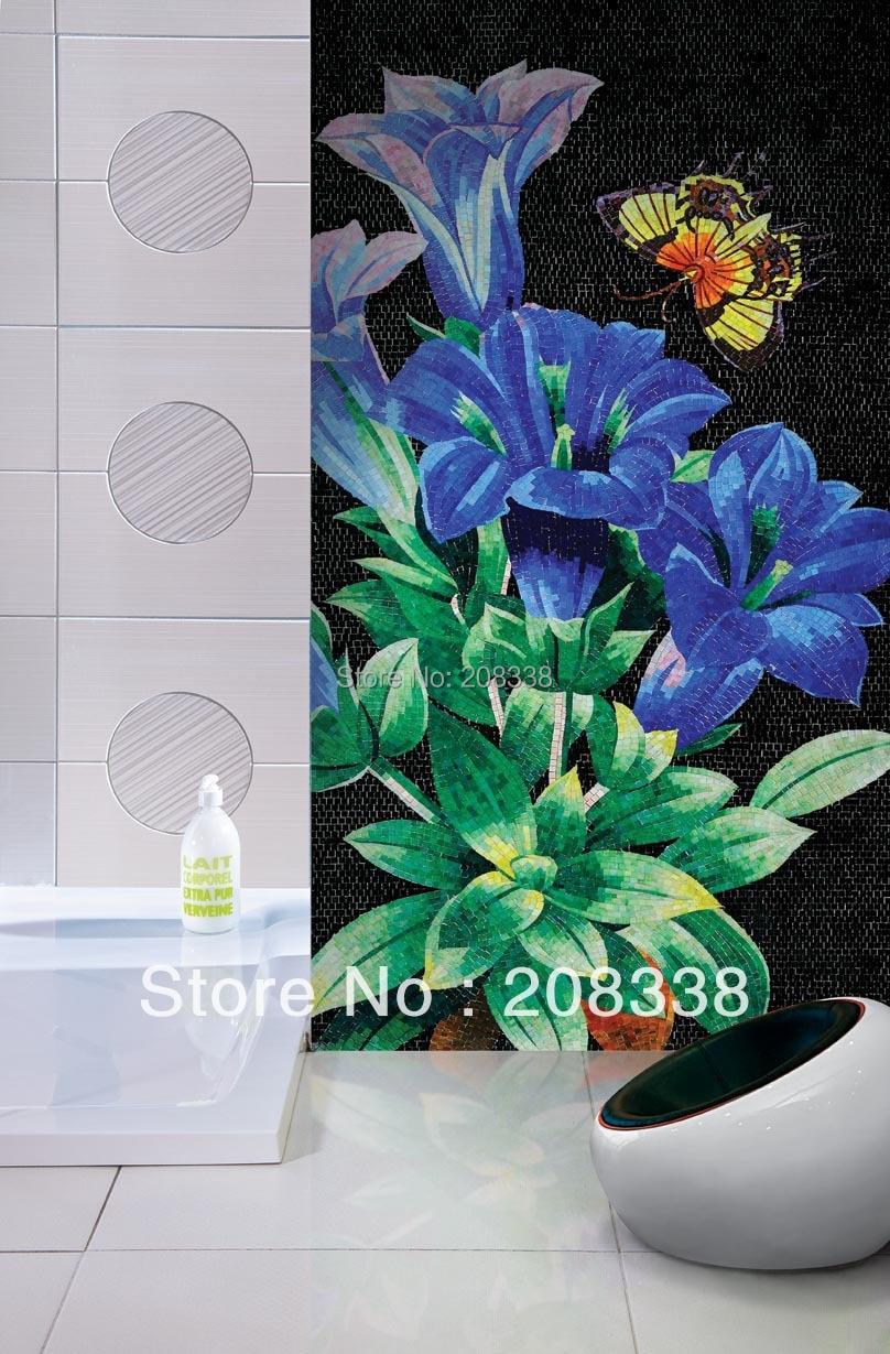 2017 Speciální nabídka Propagace Freeshipping Tablet Venkovská podlaha Nádherná květinová dekorativní ručně vyráběné sklo mozaikové dlaždice umění zeď