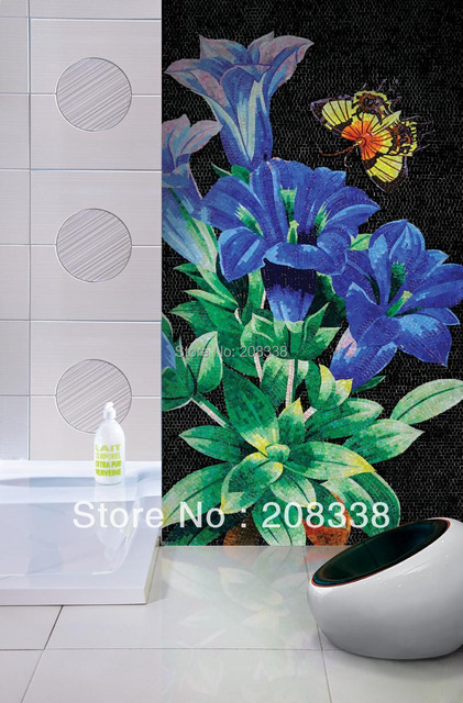 2017 Special Offer Promotion Freeshipping Tablet Rural Floor Gorgeous Floral Decorative Hand Made Glass Mosaic Tile Art Wall