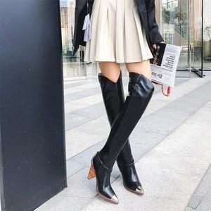 Image 3 - FEDONAS موضة ماركة النساء المعادن أشار تو حذاء برقبة للركبة جلد طبيعي الخريف الشتاء طويل فارس أحذية عالية أحذية امرأة