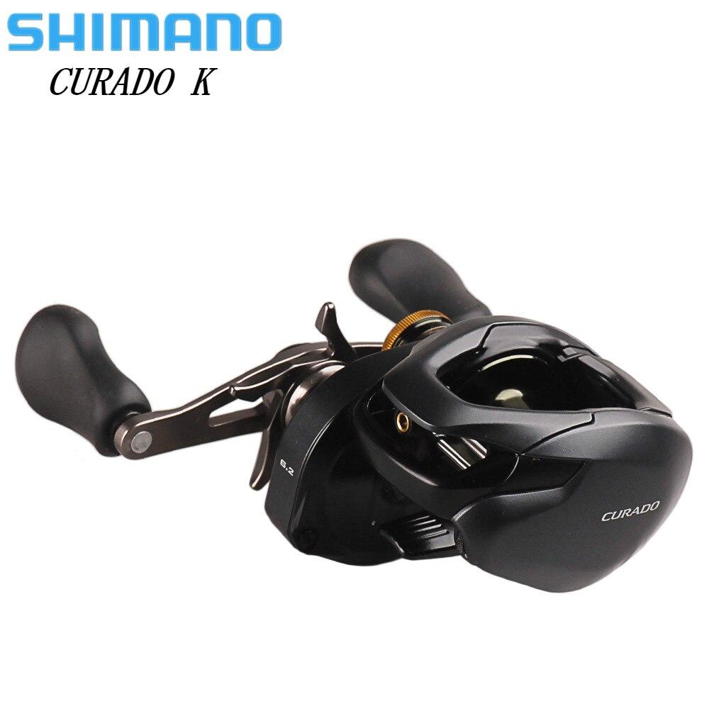 100% Original SHIMANO CURADO K perfil bajo carrete de pesca giratorio 200/201 200HG/201HG 6 + 1BB Hagane cebo corporal fundición de carrete de la pesca
