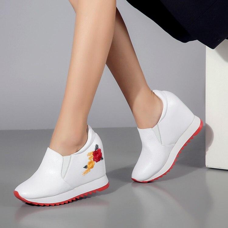 1a88cd9a Cuñas Negro Altura Zapatos Botas Zapatillas Aumento Tacón Escondido Mujeres  Primavera Plataforma Mujer Otoño Casuales De ...