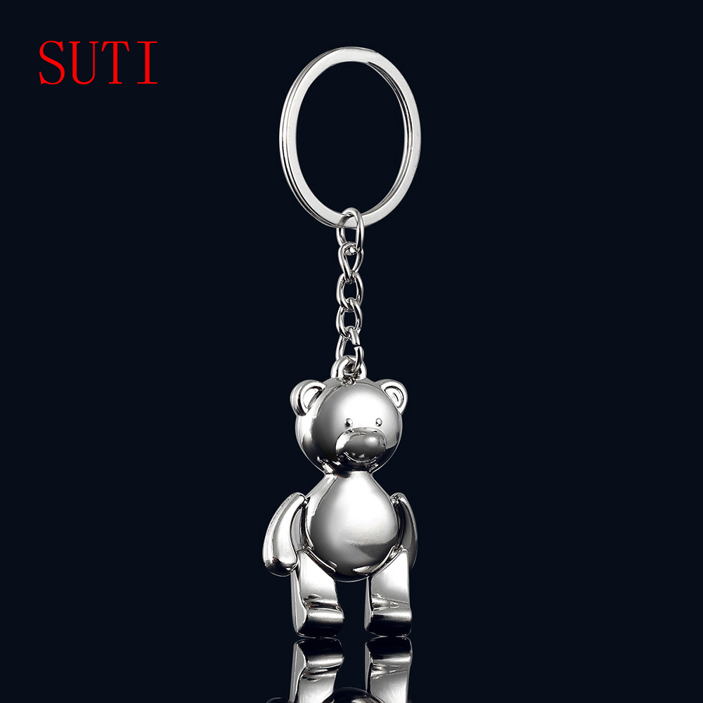 10PCS New Fashion Men Grils Gifts Teddy Bear Alloy Keychain Key Holder Charm Hanging pendant Car Key Chains Key Ring Women & Men