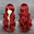 Mcoser русалочка ариэль вьющиеся волны рыжий парик косплей
