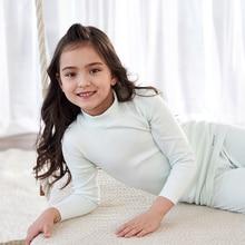 THREEGUN/детское термобелье; подштанники для девочек; мягкая хлопковая зимняя детская одежда с высоким воротником; От 3 до 14 лет