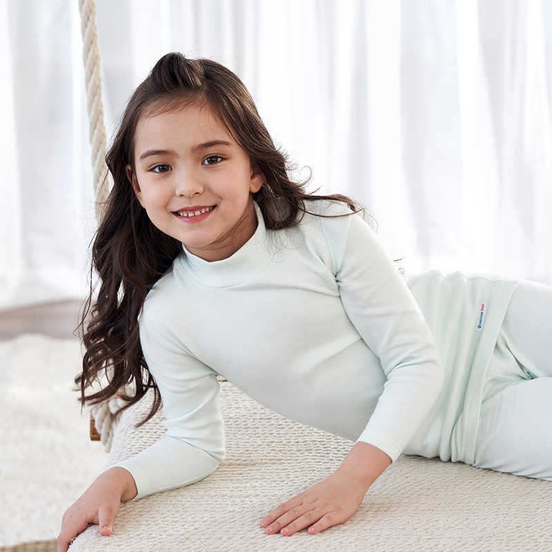 THREEGUN 어린이 열 속옷 여자 긴 존스 부드러운 코 튼 겨울 절반 높은 칼라 아이 어린이 옷 3 14 년| |   - AliExpress