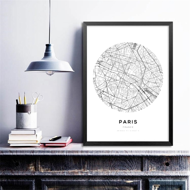 Minimalist Canvas Painting Wall Art Picture City Maps Pairs London York Prints Map Poster