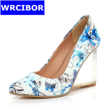 Size 33-42 NEW 2017 Woman Pumps Genuine leather pointed toe High-heeled shoes Comfortable transparent wedges High heels women