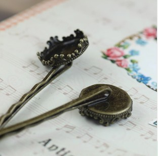 20Pcs 15MM Antique Bronze Hair Clip Hairpin Setting for Round <font><b>Crown</b></font> Edge Bezel <font><b>Cup</b></font> Cabochon Mountings Wholesale