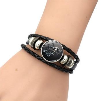 Game of Thrones House Stark Wolf Glass Cabochon Leather Bracelets Multi Layers Weave Handmade Punk Black Men Bracelets 1