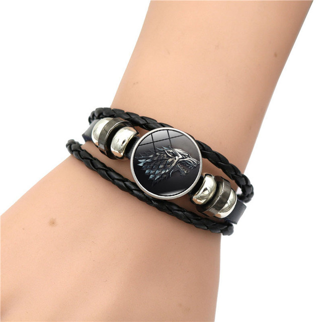 Game of Thrones House Stark Wolf Glass Cabochon Leather Bracelets Multi Layers Weave Handmade Punk Black Men Bracelets 1