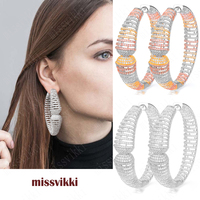 missvikki Luxury Gorgeous Big Hoop Earrings for Women Bridal Wedding Anniversary Prom Party Show Jewelry Earrings Accessories
