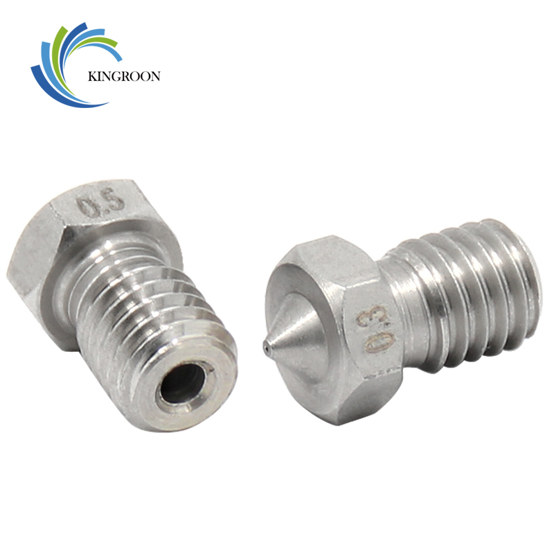 5pcs/lot V5 V6 Stainless Steel Nozzle 0.2mm 0.3mm 0.5mm 0.4mm 0.6mm 0.8 Threaded M6 3D Printers Parts 1.75mm 3.0mm Filament Part