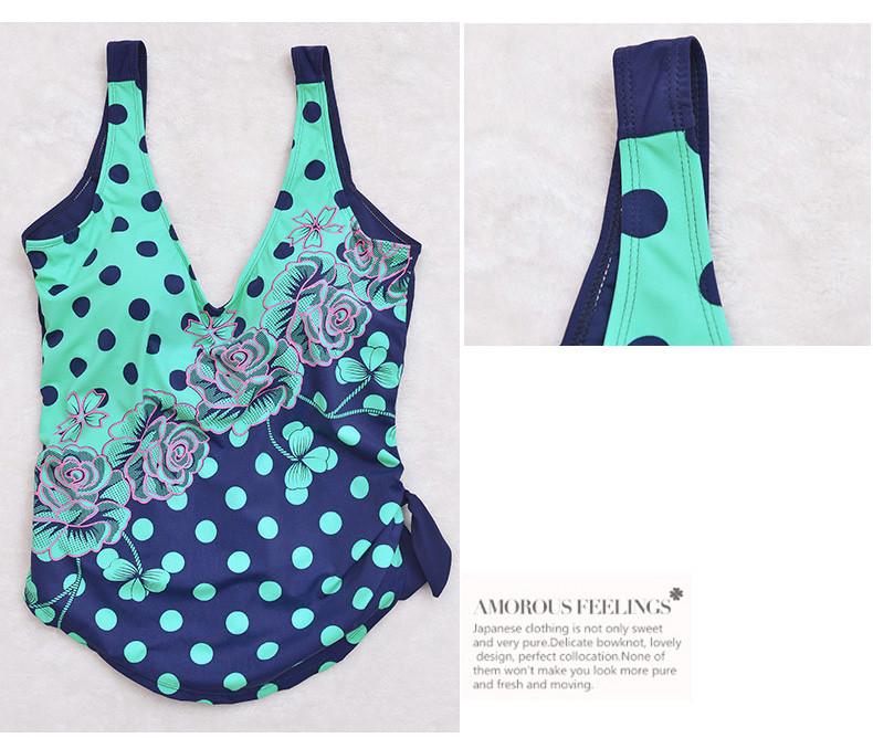 Latest ! Vintage Pad Swimwear Women Retro Plus Size One Piece Swimsuit Dress 4XL Floral Dot Backless Soft Bathing Suit F1692 23